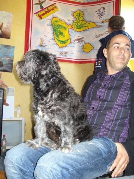Blacky sur les genoux d'Erwan Kervaon