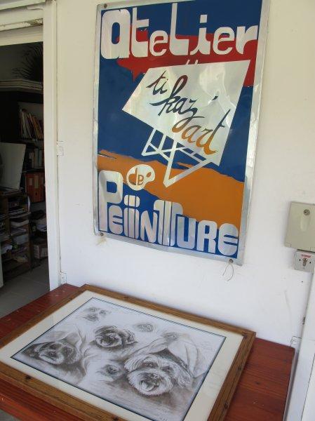 Samedi 17 novembre 2012 Montrer à Valérie Biegel l'encadrement des esquisses du projet de la toile de Blacky. La planche d'étude, pour son travail, qu'elle m'a offert.