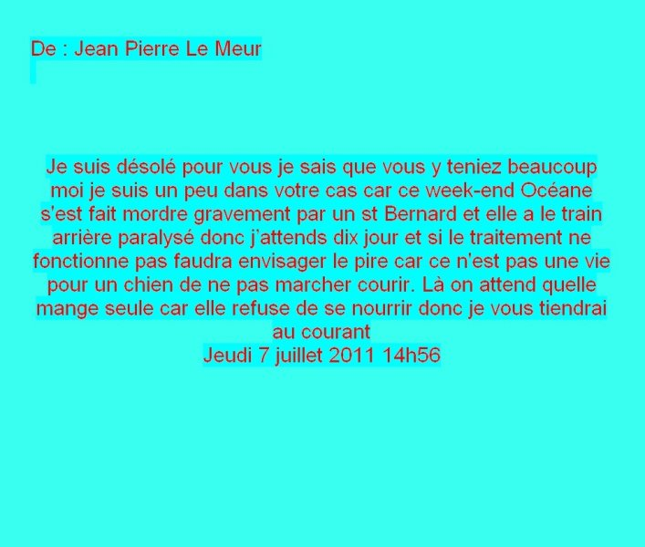 Message Facebook de Jean-Pierre le Meur