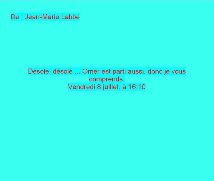Message Facebook de Jean-Marie Labbé