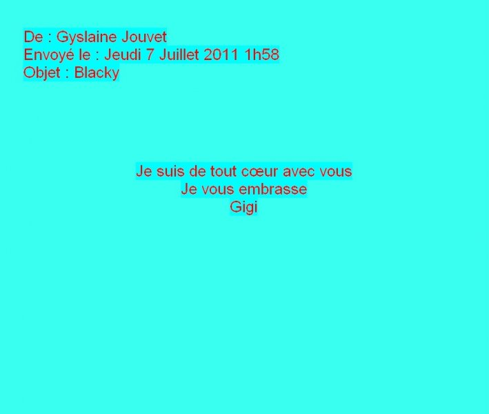 Message de Gyslaine Jouvet