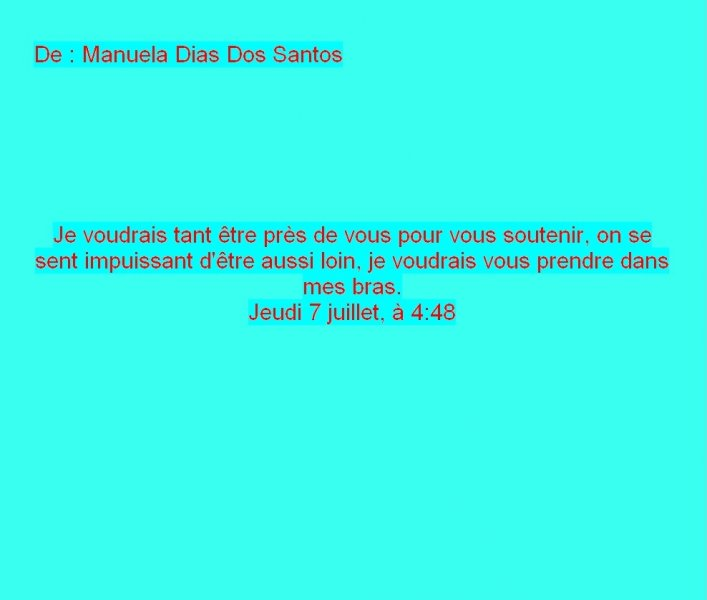 Message Facebook de Manuela Dias Dos Santos